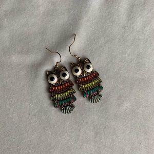 🟡Graphic Owl Earrings